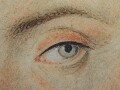 Detail of the left eye, marked out in thin st…