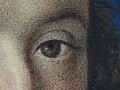 Detail of the left eye showing the stippling…