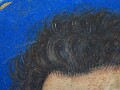 Detail of the sitter's hairline.