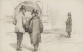 Charles Stewart Parnell, Sir George Henry Lewis, 1st Bt, and Thomas Miller Beach, by Sydney Prior Hall - NPG 2244