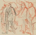 Trade Unionists (sketch) (Joe Gormley; Sidney Weighell; Thomas Jackson), by Hans Schwarz - NPG 5793(4)