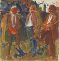 Trade Unionists (sketch) (Joe Gormley; Thomas Jackson; Sidney Weighell), by Hans Schwarz - NPG 5793(7)
