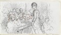 Sketch of an unknown woman and 14 children, probably a teacher and pupils, by Louisa Anne Beresford - NPG D23146(39)