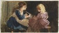 Two unknown girls, by Louisa Anne Beresford (née Stuart), Marchioness of Waterford - NPG D23146(41a)