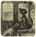 Study of an unknown woman in a train car, by George Estall - NPG D23203