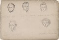 Mr Goskar-Lynn; Miss Carlow; Mr Dickenson and two unknown sitters, attributed to William Egley - NPG D23313(6)