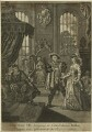 King Henry VIII bringing to Court Anna Boleyn, who was afterwards his Royal Consort (Thomas Wolsey; Henry Algernon Percy, 6th Earl of Northumberland; Katherine of Aragon; King Henry VIII; Anne Boleyn), after William Hogarth - NPG D24176