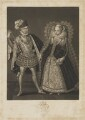 Henry Stuart, Lord Darnley; Mary, Queen of Scots, by Robert Dunkarton, published by  Samuel Woodburn, after  Renold or Reginold Elstrack (Elstracke) - NPG D31823