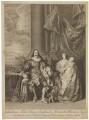 King Charles I; Henrietta Maria; King Charles II; Mary, Princess Royal and Princess of Orange, by Bernard Baron, published by  John Boydell, after  Sir Anthony van Dyck - NPG D32111