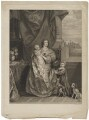 Queen Henrietta Maria and her two eldest children (Henrietta Maria; Mary, Princess of Orange; King Charles II), by Bonnefoy, after  Sir Anthony van Dyck - NPG D32113