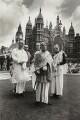 Abhay Charanaravinda Bhaktivedanta Swami Prabhupada (Srila Prabhupada) and four disciples, by Niall McInerney - NPG x131279
