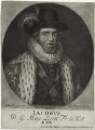 King James I of England and VI of Scotland, by John Faber Sr, sold by  Thomas Taylor, after  Cornelius Johnson (Cornelius Janssen van Ceulen) - NPG D32891