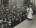 Emmeline Pankhurst addressing a crowd in Trafalgar Square, by Central Press - NPG x131784