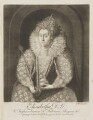 Queen Elizabeth I, by Richard Houston, after  Isaac Oliver - NPG D9363