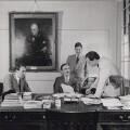 Donald Maclean; Sir (John) Nicholas Henderson; Sir John Balfour; Sir (William) Denis Allen, by Reuben Saidman - NPG x35259