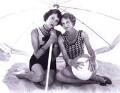 Diana Rigg; Maggie Smith, by Bob Penn - NPG x34554