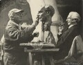 Jacob Epstein with Bertrand Arthur William Russell, 3rd Earl Russell, by Ida Kar - NPG x133292
