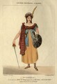 Sarah Egerton (née Fisher) as Helen McGregor in Pocock's 'Rob Roy', by H.B., printed by  Rowney & Forster, published by  H. Beurthoud Jr, after  Samuel De Wilde - NPG D10964
