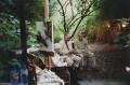 'Summer evening in the Garden' (Julia Auerbach (née Wolstenholme); Frank Auerbach; David Hockney), by David Dawson - NPG x134646