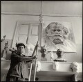 Lev Efimovich Kerbel with works including a sketch for his monumental bust of Karl Marx, by Ida Kar - NPG x134756