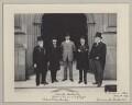 Mehmed Talat Pasha, Neville Travers Borton and Sir John Henniker Heaton, 1st Bt with two other Turkish delegates, by Sir (John) Benjamin Stone - NPG x135593