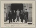 Mehmed Talat Pasha, Neville Travers Borton and Sir John Henniker Heaton, 1st Bt with two other Turkish delegates, by Sir (John) Benjamin Stone - NPG x135594
