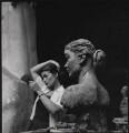Nancy Rogers with her bust by Sir Jacob Epstein, by Ida Kar - NPG x136759