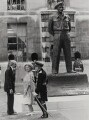 Oscar Nemon, the Queen Mother and Baron Harding of Petherton with Nemon's statue of Viscount Montgomery of Alamain, for Press Association Photos - NPG x184149