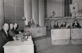 Sir John Betjeman, Kay Hammond, Dame Celia Johnson and Joyce Grenfell on the set of 'We Beg to Differ', by Barratt's Photo Press Ltd - NPG x184220