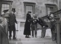 Group outside the National Gallery including King George V, Queen Mary and Sir Philip Albert Gustave David Sassoon, 3rd Bt, by Unknown photographer, for  Keystone View Company - NPG x137827