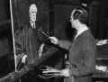 Simon Elwes painting with his portrait of Charles Evans Hughes, by Unknown photographer - NPG x194261