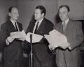 John Gielgud; Orson Welles; Sir Ralph Richardson, by Central Press - NPG x194272