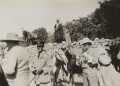 Winston Churchill; Group Captain Robinson; Clementine Ogilvy Spencer-Churchill (née Hozier), Baroness Spencer-Churchill, by Lady Evelyn Hilda Stuart Moyne (née Erskine) - NPG Ax183251