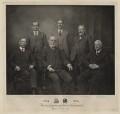 Sir Hubert Harry Longman, 1st Bt; William Longman; Charles James Longman; Robert Guy Longman; John William Allen; George Henry Longman, by Emery Walker Ltd - NPG x29998