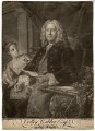 Colley Cibber, by Edward Fisher, printed for  John Spilsbury, after  Jean Baptiste van Loo - NPG D2075