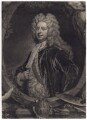 Sir Godfrey Kneller, Bt, by John Faber Jr, after  John Vanderbank, after  Sir Godfrey Kneller, Bt - NPG D3440