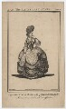 Priscilla Kemble (née Hopkins) when Miss Hopkins; as Miss Notable in Cibber's 'The Lady's Last Stake', by John Thornthwaite, published by  John Bell, after  James Roberts - NPG D8665