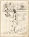 'Citizen Bardolph refused admittance at Prince Hal's' (Samuel McDonald; Richard Brinsley Sheridan), by James Sayers, published by  Hannah Humphrey - NPG D9551