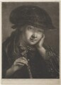 Young woman wearing dark hat and holding a closed fan, by Thomas Frye - NPG D11288