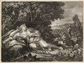 Diana resting near a fountain, by Robert Robinson, published by  John Smith, after  Pietro da Cortona - NPG D11732