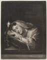 Woman asleep by candle, by and published by John Smith, after  Godfried Schalcken - NPG D11737