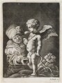 Cupid pissing into a cup, published by John Smith, after  Joachim von Sandrart - NPG D11787