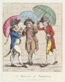 'A meeting of umbrellas', by James Gillray, published by  William Humphrey - NPG D12299