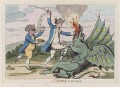 'St George and the dragon' (Charles James Fox; George Bridges Rodney, 1st Baron Rodney), by James Gillray, published by  Hannah Humphrey - NPG D12308