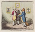 'The discarded viceroy silenced' (Charles James Fox and two others), by James Gillray, published by  Elizabeth d'Achery - NPG D12320