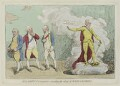 'Malagrida and conspirators, consulting the ghost of Oliver Cromwell', by James Gillray, published by  Elizabeth d'Achery - NPG D12323