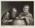 Heraclitus and Democritus, published by John Smith, after  Egbert van Heemskerck the Elder - NPG D11854
