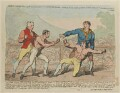 'The battle between Mendoza and Humphrey...' (Daniel Mendoza; Richard Humphries), probably by James Gillray, published by  James Aitken - NPG D12398