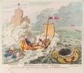 'Britannia between Scylla and Charybdis' (Charles James Fox; Joseph Priestley; Richard Brinsley Sheridan; William Pitt), by James Gillray, published by  Hannah Humphrey - NPG D12475