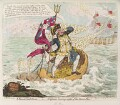 Richard Howe, 1st Earl Howe ('A French hail storm, - or - Neptune losing sight of the Brest fleet'), by James Gillray, published by  Hannah Humphrey - NPG D12478